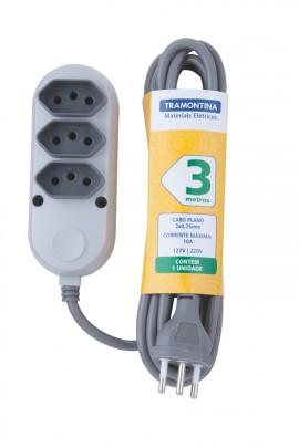 EXTENSAO 3 TOM 2P+T 10A-250V 3 MT 57504/020 TRAM