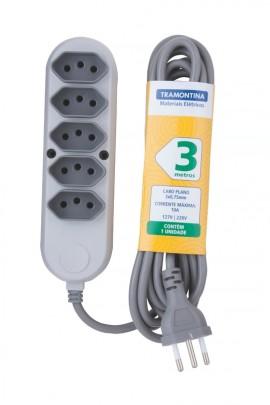 EXTENSAO 5 TOM 2P+T 10A-250V 3 MT 57504/030 TRAM